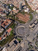 Square of Les Drassanes and historic shipyards buildings in Barcelona.