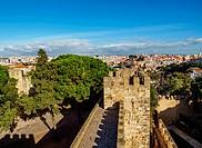 Portugal, Lisbon, View of the Sao Jorge Castle.