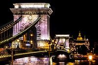 Chain Bridge Saint Stephens Danube River Reflection Budapest Hungary.