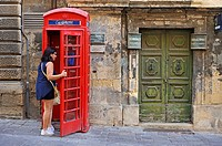 Red telephone box, Valletta, Malta, Southern Europe.