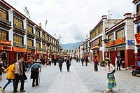 Lhasa, Tibet - The view of many Pilgrims at the Jokhang Temple Square in the daytime.