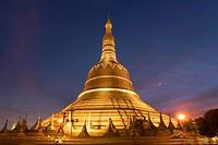 Shwemawdaw Pagoda at dusk, in Bago, Myanmar, Asia.