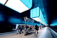 Interior of Hafencity University underground station in Hamburg, Germany.