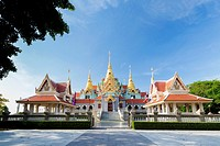 Phra Mahathat Chedi Phakdi Prakat, built for Rama IX golden jubilee to celebrate the 50th birthday of Rama IX being King of Thailand, near Bang Saphan...