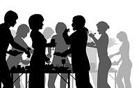 EPS8 editable vector silhouettes of people enjoying a buffet with all figures as separate objects