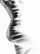 Beautiful abstract black and white nude woman body with black stripes isolated on white background.