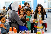 AALSMEER - THE NETHERLANDS - OCTOBER 8: Mayor children welcome refugees children on the national day of children mayors on October 8, 2016 in Aalsmeer...