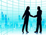 Editable vector illustration of business people shaking hands with a city background