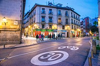 Segovia street and Casa Paco restaurant, night view. Madrid, Spain.