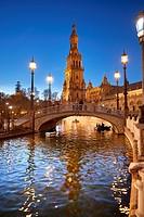 Plaza de España, Seville, Spain built for the Ibero-American Exposition of 1929, Seville, Andalusia, Spain, Europe.