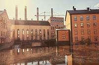 Scene from Norrkoping industrial landscape, Norrkoping, Ostergotland, Sweden, Scandinavia.