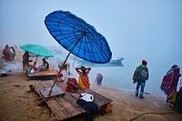 Asia, India, Uttar Pradesh, Varanasi (Benares), Ghats on the River Ganges.