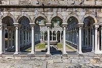 St Andrew cloister ruins, Garden near Christopher Columbus house, Genoa, Liguria, Italy.