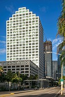 8th Street and Brickell Ave. Buildings. Downtown Miami.