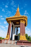 Cambodia, Phnom Penh, Boulevard Sumararit, the Independence Monument in Phnom Penh is inspired by the architecture of the central tower of Angkor Wat