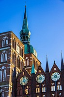 Old Town Hall and St. Nicholas´ Church of Hanseatic City of Stralsund, Mecklenburg-Pomerania, Germany.