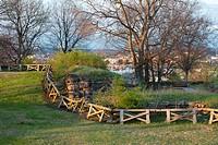 Ruins of Civil War Fort Negley overlooking Nashville, Tennessee, USA.