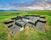 The recessed box beds and harth of one of the 8 houses of the Neolithic Barnhouse Settlement archaeological site, circa 3000 BC, Loch of Harray, Orkne...