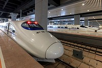 Kunming, China: Close up of a Chinese fast train inside the newly opened high speed train station in Kunming. The new fast train station links Kunming...