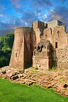The 12th century medieval Norman ruins of Goodrich Castle fortifications, Goodrich, Herefordshire, England.