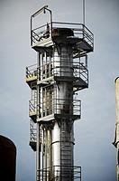 Metal tower a factory, Zaragoza Province, Aragon, Spain.