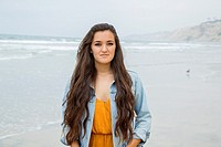 Teenage girl at the beach, La Jolla, California.