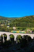 engine carriage on viaduct Novina, Krystofovo Valley, Czech Republic.