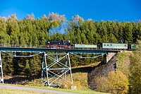 steam train, Oberwiesenthal-Cranzhal (Fichtelbergbahn), Germany.