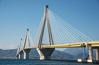 The Rio - Antirrio bridge, near Patras, linking the Peloponnese with mainland Greece accross the Gulf of Korinth.