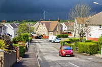 Airdrie, North Lanarkshire, Scotland, UK. Streets of Airdrie during cloudy weather and heavy rain coming changing the weather from very warm and sunny...