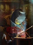 welder working with automatic welding.
