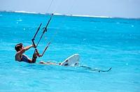 surfer on foildboard, new fast surfing sport - Foil boarding, Pointe d'Esny beach, Grand Port District, Southeastern coast of Mauritius, Mascarene, Ma...