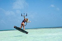 woman young beauti kite surfer navigation los roques venezuela