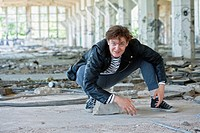 Portrait of a Young Man in Abandon Building.