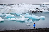 Iceland, Austurland region, Vatnajokull National Park, the glacial lake of Jokulsarlon is a very deep lagoon filled with floating ice between the glac...