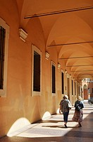 Bologna, Italy: portico by Liceo Galvani, along via Castiglione