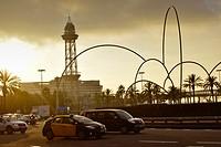 ´Ones´ (waves) modern sculpture by Andreu Alfaro at Plaça de les Drassanes. Barcelona, Catalonia, Spain