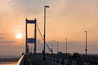 The Severn Bridge carrying the M48 motorway over the Severn Estuary to Wales at Aust, Gloucestershire, England.