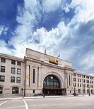 VIA Rail Canada Union Station and Winnipeg Railway Museum building front view. Main street, Winnipeg, Manitoba, Canada 2017.