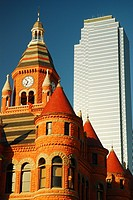 Old and New, Old Red Courthouse and the 74 Story Bank of America Building, Dallas.