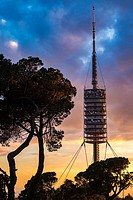 communications tower, by Norman Foster, in Collserola Park,Barcelona,Catalonia,Spain.