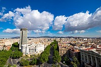 Panoramic of Barcelona from Colon monument Catalonia Spain.