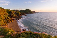 Hele Bay and Ilfracombe on the North Devon Heritage Coast viewed from Rillage Point, England.