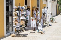 Clothes displayed outside a shop on the island of Tabarca Spain.