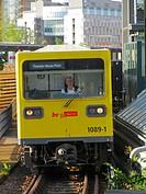 A U-Bahn network train approaching the station of Mockernbrucke. Berlin, Germany, Europe.