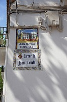Old street signs. Sitges, Barcelona, Catalonia, Spain, Europe.
