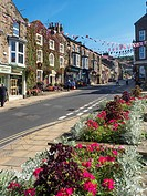 Union Jack Bunting over the High Street at Pateley Bridge Nidderdale AONB Yorkshire England.