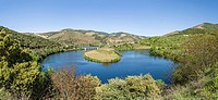Mouth of Rio Tedo into river Douro. The valley of river Douro. It is the wine growing area Alto Douro and listed as UNESCO World heritage. Europe, Sou...