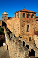 Town Wall, Episcopal Palace and Torre de Bujaco, Old Town, Cáceres, Extremadura, Spain