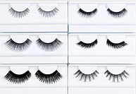 Set of Artificial Eyelashes in White Holder.